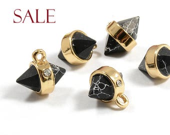 CLEARANCE! Black Marble Gemstone Pendant with Cubic ZIrconia / Hexagon Pendant with Black Marble in Gold Plating