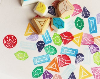gemstone rubber stamp set | diamond stamp | diy wedding birthday christmas | gift wrapping | hand carved stamp by talktothesun | set of 6