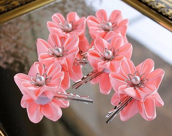 Coral Bridal Hair Pins, Kanzashi Bobby Pins, Flower Hair Pins, Small Wedding Clips, Coral Hair Pins, Bridesmaids Flowers, Coral Bridal Pins