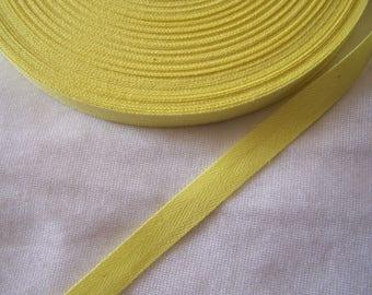 Yellow cotton twill Ribbon, straw, width 10.5 mm