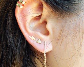 Tiny Thunder gold earrings • Dainty Jewelry • Minimal jewelry • Stud earrings •  Thunder gold earrings •