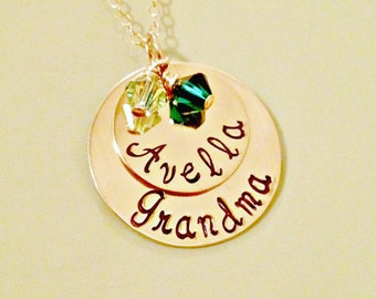 Gold Filled Personalized Mommy, Grandmother, Nana Necklace - Hand Stamped Custom Jewelry - Stacked Discs Swarovski Charms Mother's Day Gift