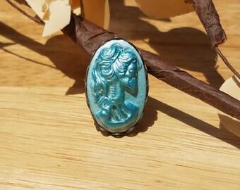 Lolita Skull Cameo Ring in Blue, Antiqued Blue Gothic Lolita Skull Adjustable Ring