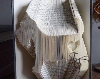 Folded Book Art -Scottie w/Heart - Scottish Terrier - Sculpture - Unique - Dog Lover - Pet Lover - Birthday - Any Breed - Custom Made -