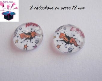 2 glass cabochons 12 mm for loop or bubble theme ring