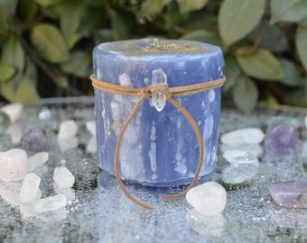 Enchanted Flame Candle, Sparkling Candle, Large Candle, Blue Candle, Candle Magic, Fairy Candle, Fairy Magic, Pillar Candle, Floral Candle