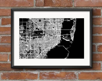 Miami Map Art Print –Dark // Miami Poster | Miami Art | Miami Print // Free Shipping