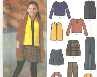 2002 Sewing Pattern - Simplicity 5945 Girls Top pants vest skirt Size 8 to 16 Uncut, Factory Folded