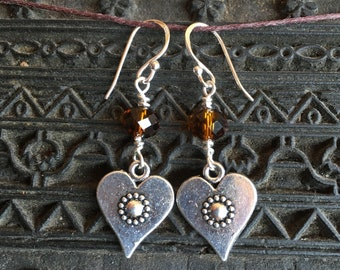 Sterling silver and Tibetan silver Heart earrings with flower