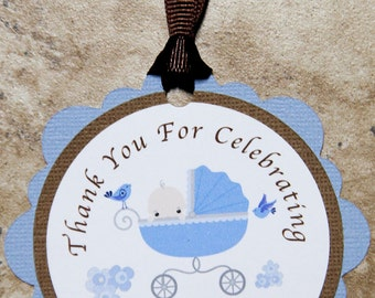 Baby Carriage Party Favor Tags for Birthday or Baby Shower- customizable (25 pack)