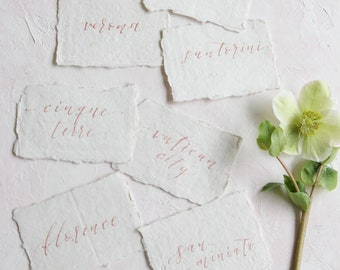 Custom Calligraphy Place Cards - handmade paper with raw deckled edge - Modern Calligraphy