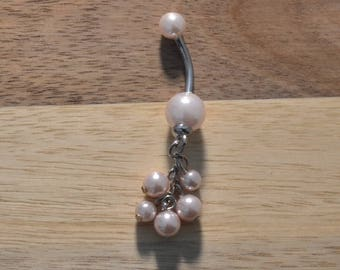 Light Pink Faux Pearl Balls Acrylic Dangle Belly Button Ring Navel Body Piercing Jewelry