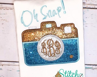 Monogram Camera Applique Shirt, Bodysuit, Oh Snap Shirt, Camera Shirt, Camera Applique