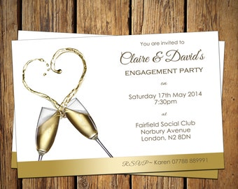 Engagement Party Invitations Champagne Heart