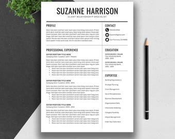 Creative Resume Template, Cover Letter, Word, US Letter, A4, CV Template Design, Professional Modern Resume, Instant Download, SUZANNE