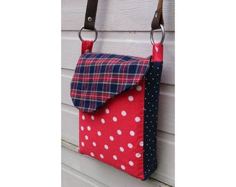 Punkadot Tartan & polka dot handmade messenger shoulder bag