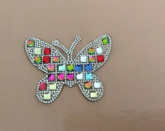 Appliques with Rhinestones 8 * 6 cm Butterfly a stick to iron ironing