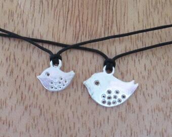 Mother Bird Baby Bird Necklace Pair