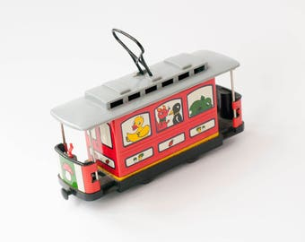 Vintage cable car Old children toys Tramcar Toddler toys for boy Streetcar Trolley car Collectable toys Vintage home decor Toys for boys
