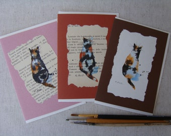 Hand-painted greeting cards-postcards cat OOAK-collectable cat cards-tortie-tortie calico cat cat cat-tricolor-