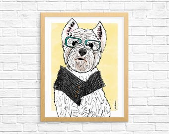 Dog Art Print, Westie Art, West Highland Terrier Wall Art, Dog Lover Gift, Pet Portrait, Dorm Decor, Home Decor, Office Decor, Nursery Art