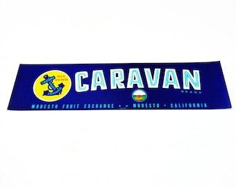 Vintage New Old Stock Unused CARAVAN Vegetable / Fruit Crate Label