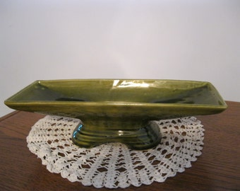 Vintage Olive Green Retro Ceramic Planter