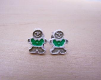 Vintage Tiny Stud Gingerbread Christmas Earrings - Stocking Stuffer - Gift for Her - K250