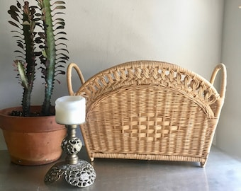 vintage wicker magazine rack basket boho decor