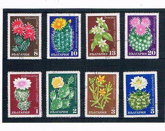 Flowering Cacti - Retro Vintage Postage Stamps | 1970s flowers, topical stock card | stamps to collect or for craft collage upcycling etc