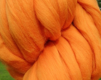 Clementine Orange Merino Wool Too Roving - Spin into Yarn, Needle Felt wet felt all Crafts