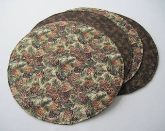 Pine Cone Circular Placemats Reversible Set of 2 4 or 6  Round Evergreen Placemats Brown Placemats Winter Placemats Pine cone centerpiece