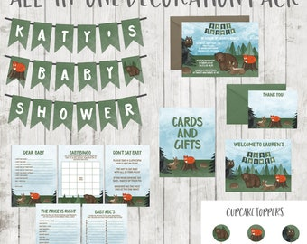 Woodland Baby Shower Decorations - Forest Animals Baby Shower Package - All-in-One Pack with Invites, Signs, Games, Banner, Cupcake Toppers