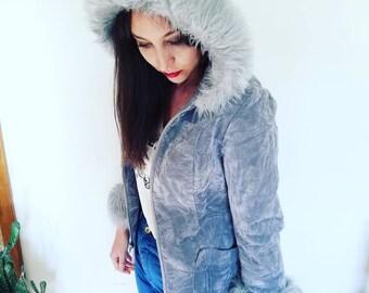 Gorgeous 1970s Grey Velvet Faux Fur Shearling Hooded Jacket Coat