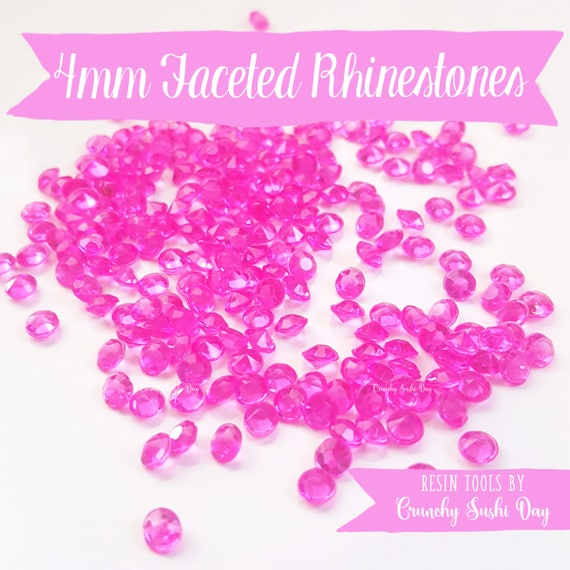 200 PCS- 4mm Fushia Clear Acrylic Diamond Rhinestones, Rhinestone, Acrylic Rhinestones, Loose Rhinestones, Diamond Confetti, Confetti