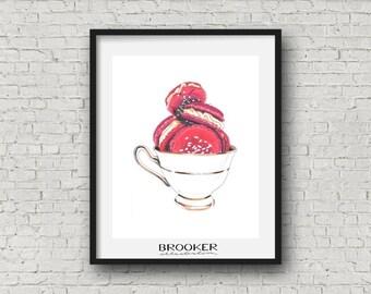 French Macaron & Teacups • Culinary Illustration Art Print • 8x10 Inch