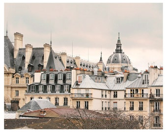 Paris Rooftops photography art, large Paris Print, neutral wall art architectural poster, 11x14, 24x30, 12x12, beige grey living room decor