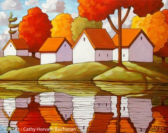 Cottage Water 9x11 Print, Fall Trees Art Print, River Reflections Modern Folk Art, Lake House Landscape, Colorful Artwork Giclee by Horvath