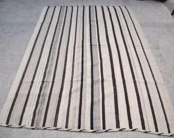 "Natural Stripes // Grey Black White Undyed Wool Vintage Nomad/Village Turkish Kilim / 5'11""x8'6""/182x260cm"