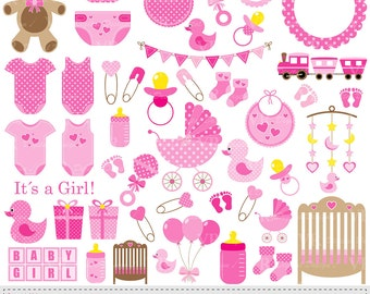 Baby Girl Clip Art, Pink Baby Shower Clipart, Nursery Clip Art, Baby Girl Vector Clipart, Baby Girl Onesie Clipart, Digital Download