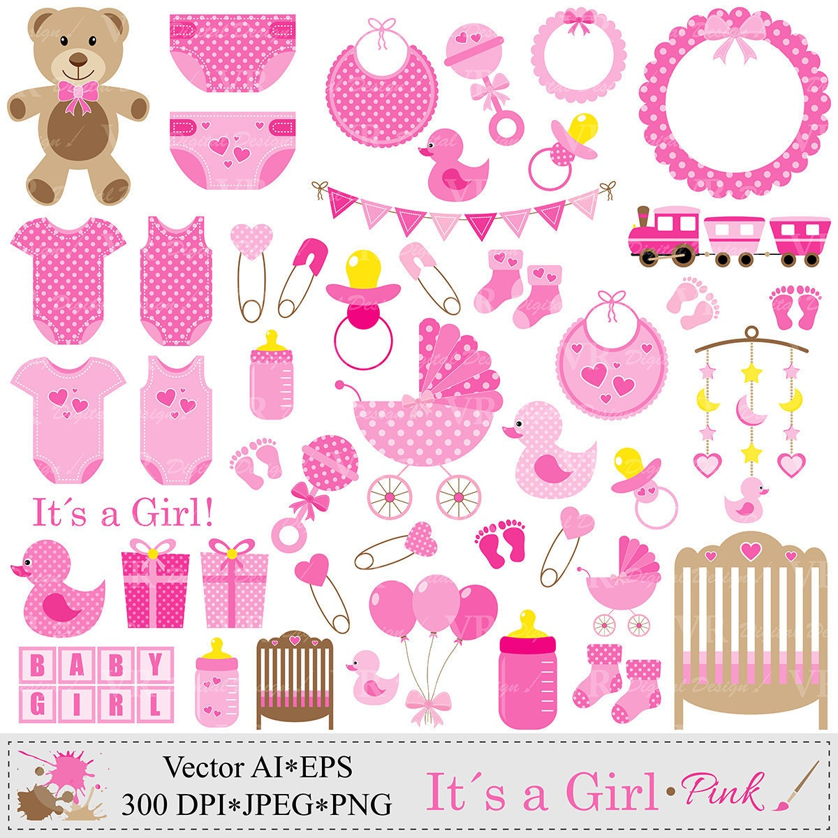 baby girl clip art pink baby shower clipart nursery clip rh etsy com clipart baby girl free clipart baby girl borders