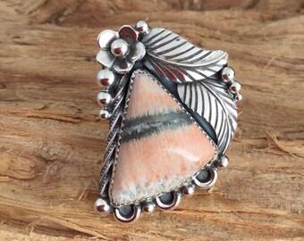 English Barite ring/ Artisan Handmade/ Sterling Silver/ Southwestern style/ size 8.5