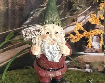 Fairy Garden Miniature  Garden Gnome for your Fairy Garden, Welcome Gnome, Miniature Gnome with Welcome Sign, Wood Like Gnome