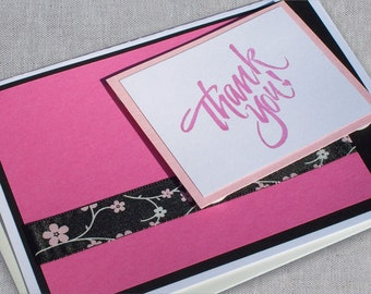 Pink Thank You Cards - Thank You Note Cards with Envelopes - Floral Thank You Notes - Thank You Greeting Cards - Handmade Thank You Cards