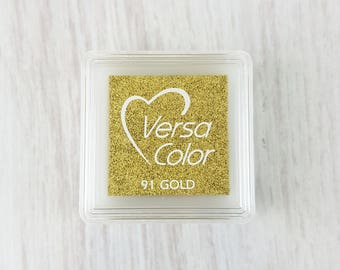 VersaColor Pigment Ink Pad Small in Gold - Ink for stamp - Inkpad for Rubber Stamp - Versa Color - Colour Ink Pad - Metallic Ink