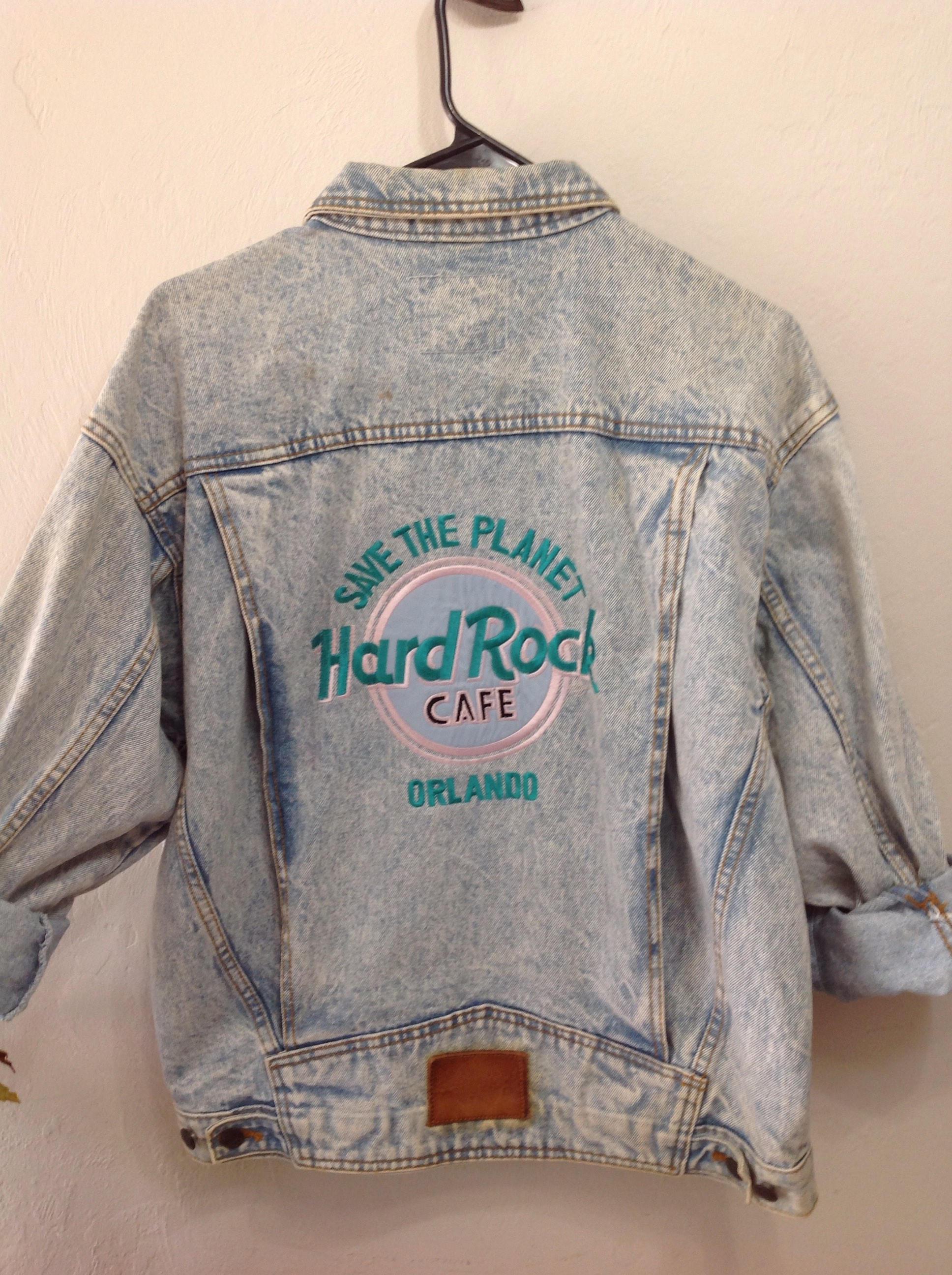 Vintage Save the Planet Hard Rock Cafe Acid Wash Jean Jacket