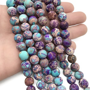 10mm Matte Aqua Terra Jasper Beads, Imperial Jasper Beads, Round Gemstone Beads, Wholesale Beads