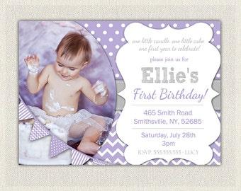 1st Birthday Invitation Purple and Grey - Girls  / Purple birthday Invite Printable / First birthday / Girls 1st birthday Invitaiton (61)