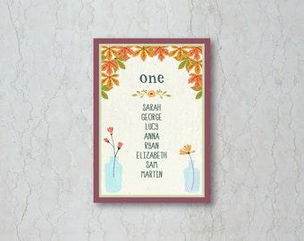Fall Wedding Table Plan Card