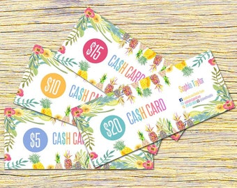 Pineapple Cash Cards, Free Fast Personalization ,Money Card, Digital Files, Bucks, Home Office Approved fonts and colors! ,Price Cards Signs